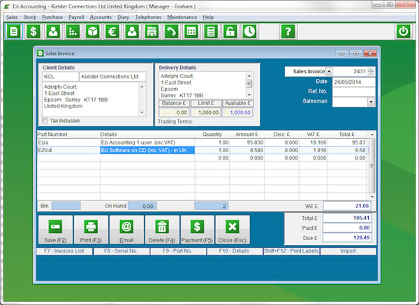 Click to view Ezi Accounting 2.5.11 screenshot