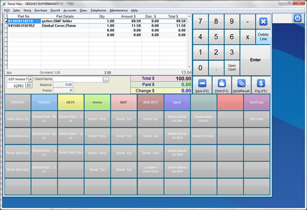Retail Man, powerful point of sale (POS) and inventory software. Easy to use and low cost. Supports most POS hardware and web store. Docket printer, bar code scanner, cash drawer, pole display, touch screen, scales. Multi-user and multi-store.